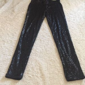 Black sequin leggings pants